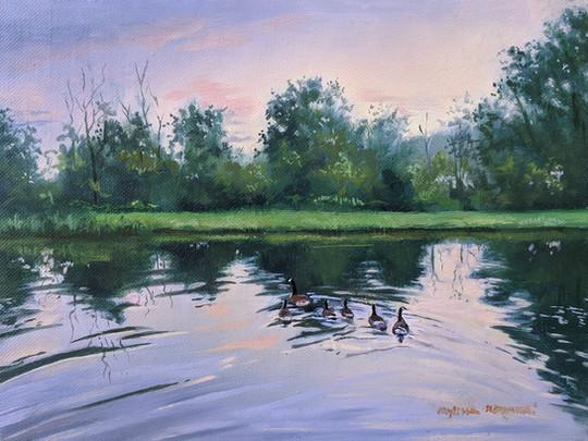 SOLD - Summer sunset on Paige Pond