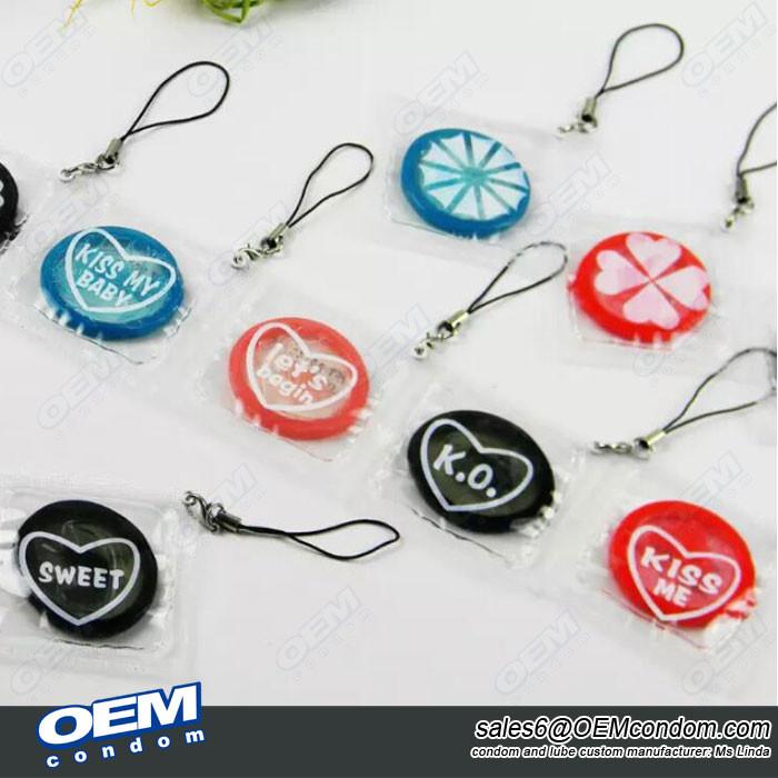 Keychain condom suppliers, Custom brand keychain condom manufacturer