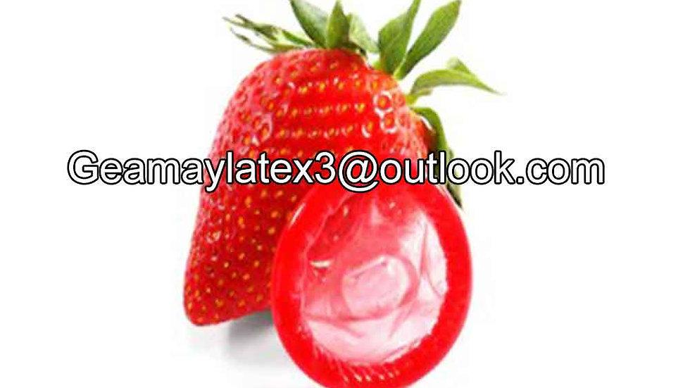 Custom strawberry flavored condoms