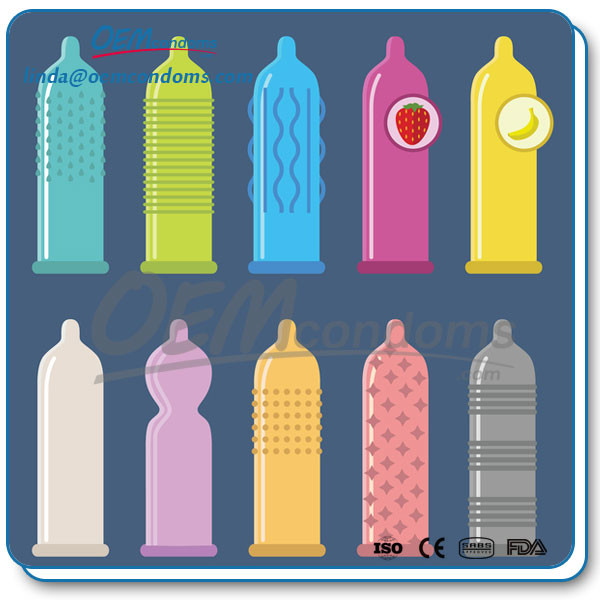 The more common types of condom are available