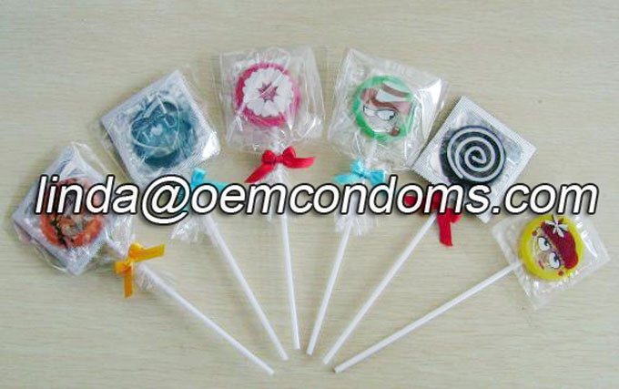 lollipop condom, OEM private label funny condom