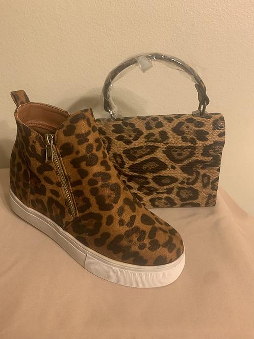 side zipper hidden wedge casual sneakers/Leopard