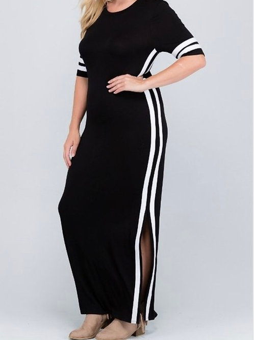 Black/ Solid contrasts striped maxi dress featuring side slit