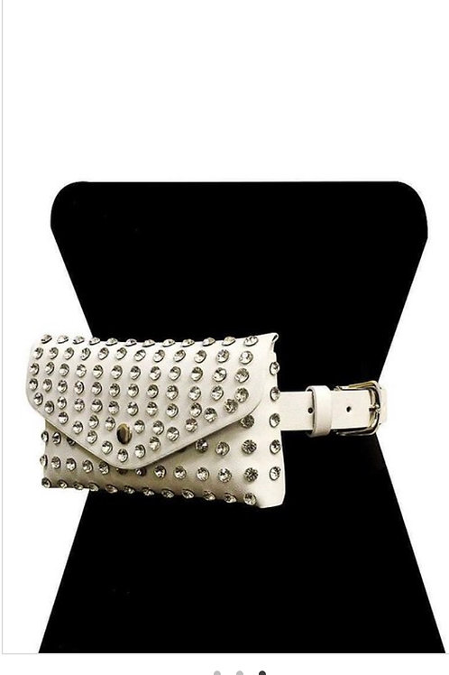 White Studded Stone Mini Bag Belt