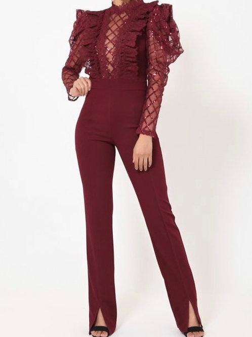 Wine:  Puff Mesh Sleeve Crochet Ruff Bodice Jumpsuit