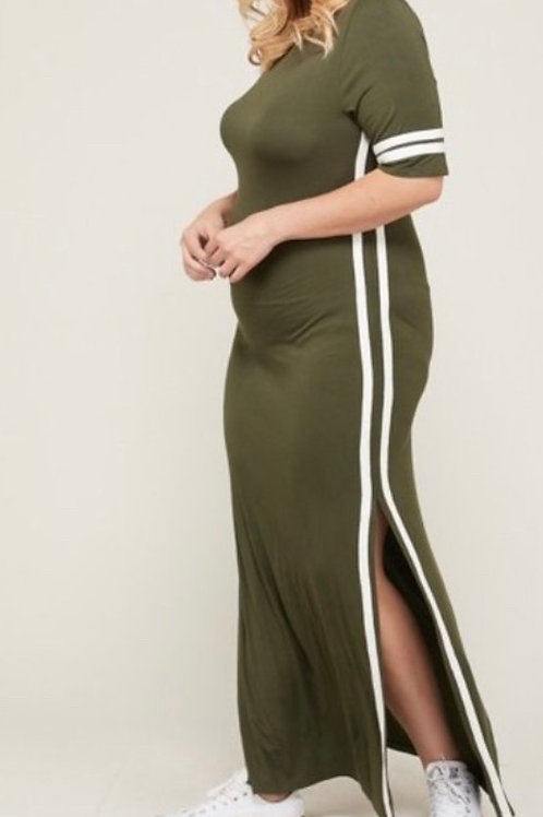 Oliver/Solid Contrast Striped Maxi dress featuring side slit contrast
