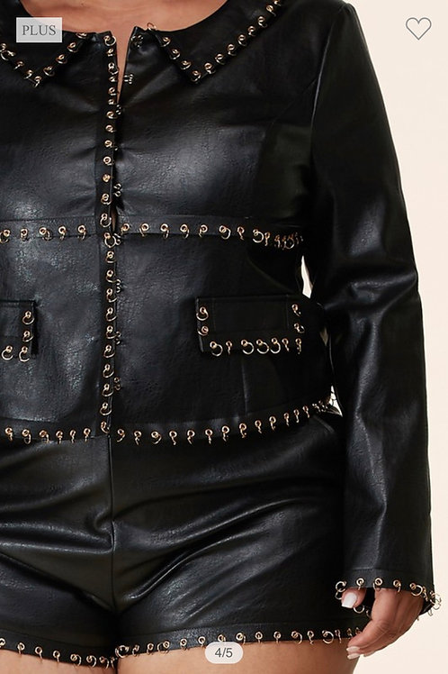 Faux leather o-ring Jacket set/Paired w/matching shorts