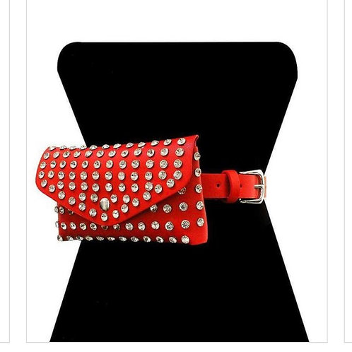Red/Studded Stone Mini Bag Belt