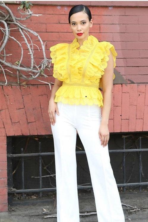 Dark Lemon-Front-V-Neck Crochet Ruffle Top Zipper in the Back