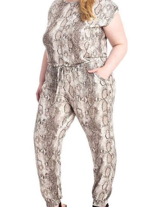 Snake Skin Very Comfortable Plus Size Jumpsuit