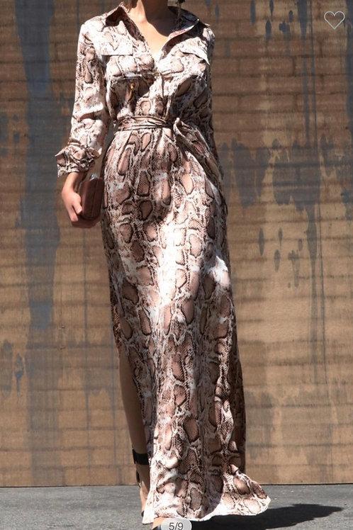 Snake Skin Button Down Satin Shirt Long Dress/ S, M, L