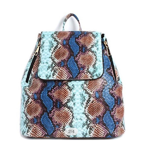 Fashion Chic Snake Design Backpack /smooth Textured PU Both Sudes Zipper Open Cl