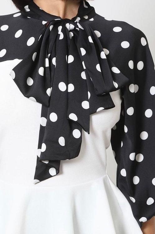 White/Black Polka Dot Print