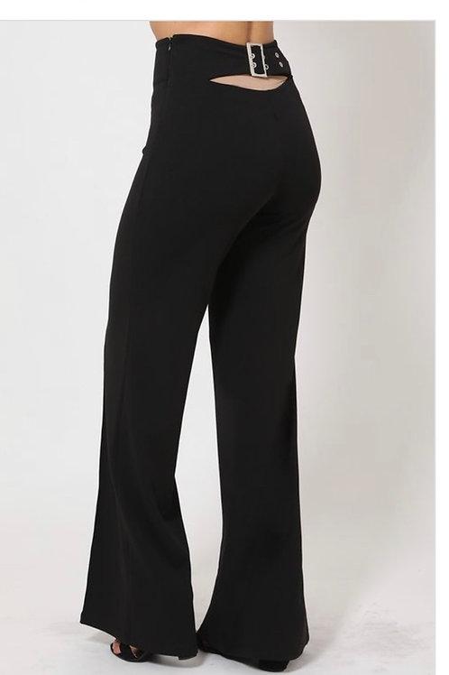 Black/Back Buckle Belted Pants High Waist