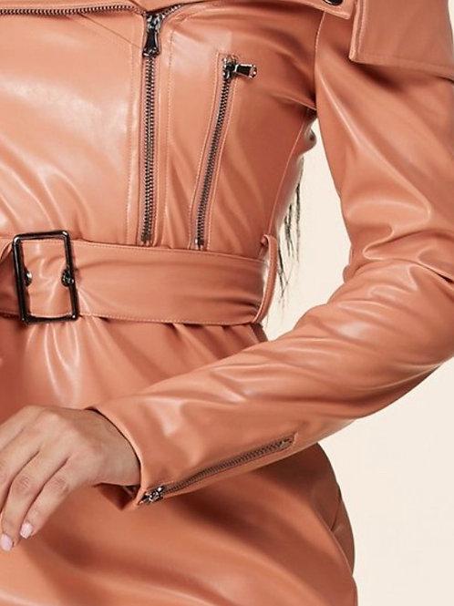 Shoulder Faux Leather Mini/Full Lining Dress