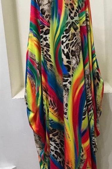 Plus Size/Rainbow Leo Maxi Dress