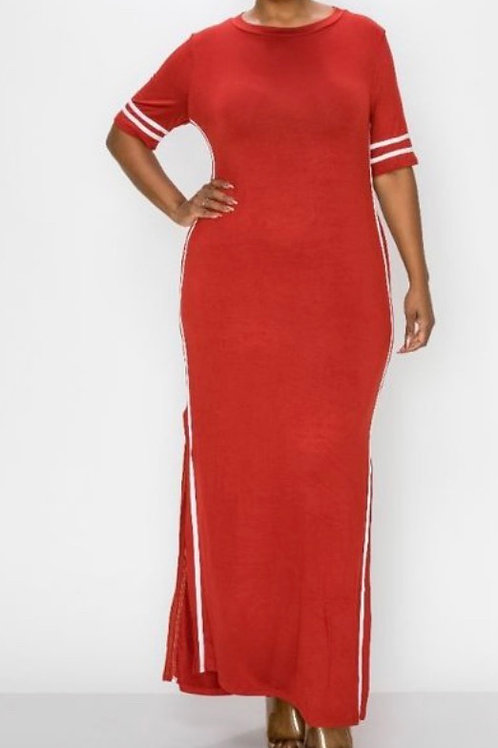 Red/Solid Contrast striped maxi dress featuring side slit contrast