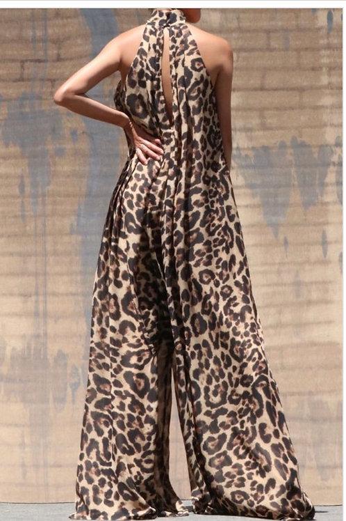 Leopard High Neck Band Long Jumpsuit -Lined-