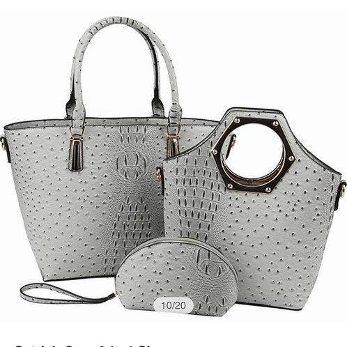Light Grey/Olive Ostrich Croc 3-in-1 Shopper Faux Vegan Leather ZIP top closure