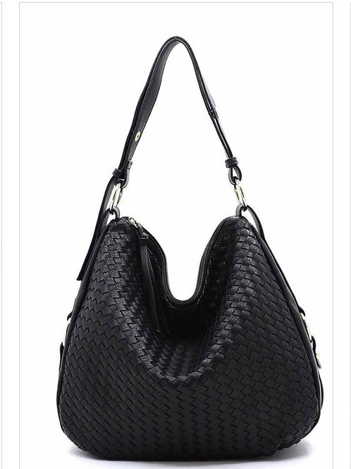 Black, Blue, Brown :  Fashion Woven Shoulder Bag Hobo Faux Vegan Leather, zip