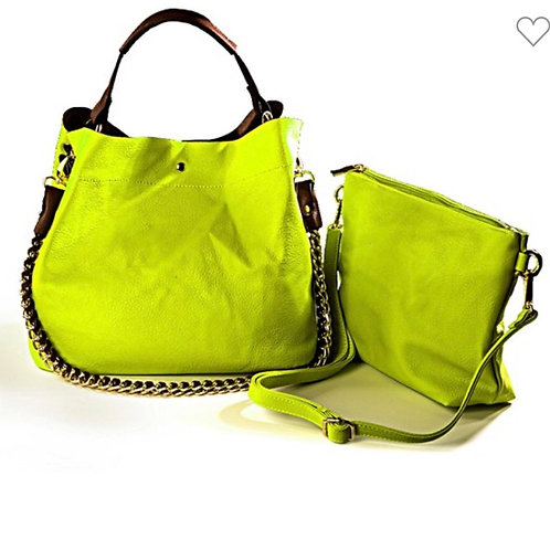 Lime/ chain strap faux leather over sized purse with detachable compartment ours