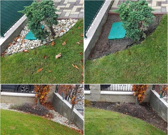 Údržba záhonov v záhrade a výmena kameňa
