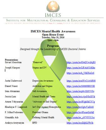 IMCES Program Activities Honoring Mental Health Awareness Month