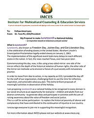 Juneteenth Proposal for National Holiday
