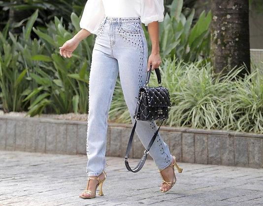 Calça jeans com taxas laterais/cós alto/lavagem clara