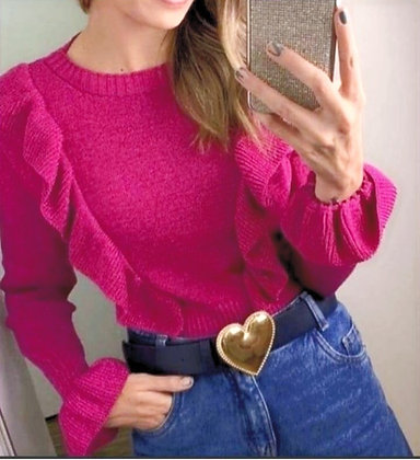 Blusa tricot babado com leve brilho