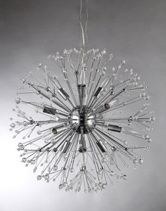 The Eupifinia 12-light Crystal  Chandelier in chrome has the look of branches or a firework. Your electrician can help you install it.