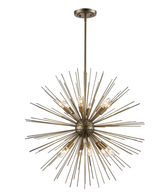 The Antonie 12 - Light Sputnik Sphere Chandelier is a mid-century take on a fireworks burst. Licensed electricians can help you install a new ficture.