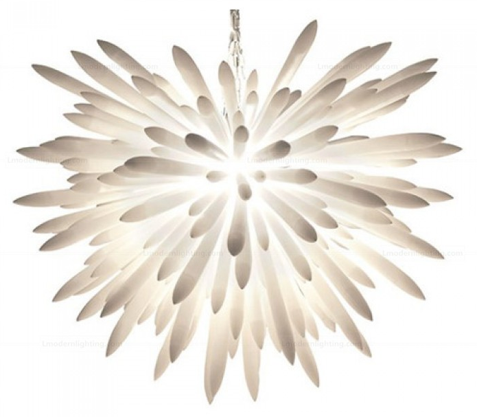 The Fireworks Glass Reproduction Kou Chandelier looks like a frozen splash. As with all delicate chandeliers, have a professional electrician install them!