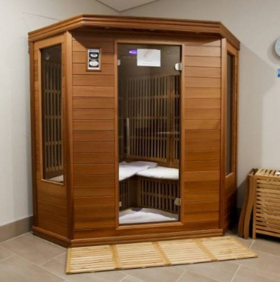 A standalone dry sauna that can be installed with the help of your electrician.