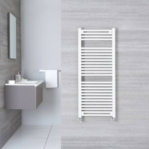A towel warmer wired into the wiring of a bathroom.