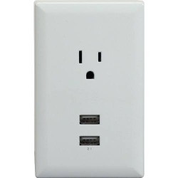 An electrical receptacle with built-in USB adapters.