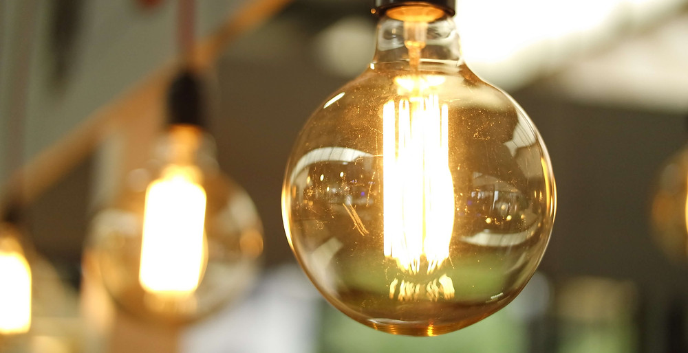 Electric light bulbs show the variety of bulb types available.