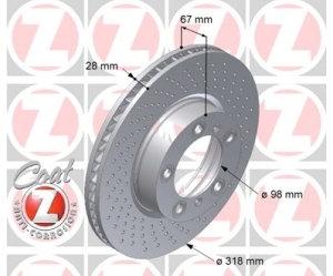 Coppia dischi Boxster/Cayman S anteriori 318x28mm
