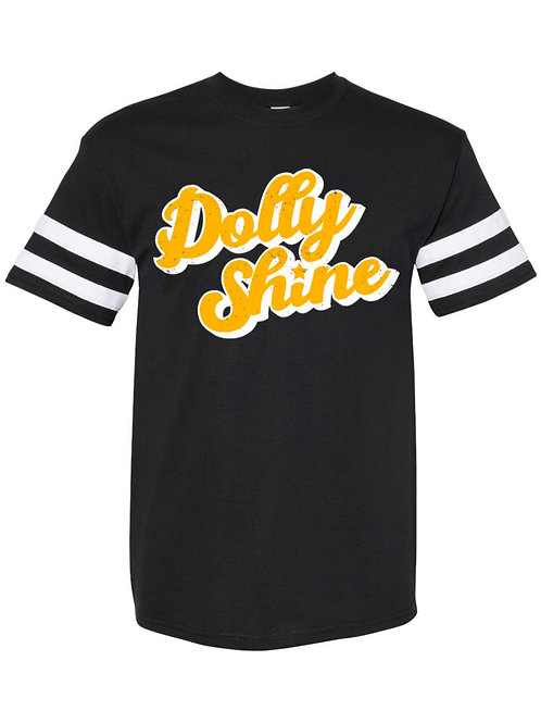 Dolly Shine Gold Star Distressed Football Tee