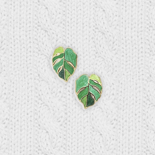 Handmade Monstera Leaf Plant Stud Earrings