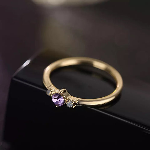GOLD PLATED MINIMALIST CRYSTAL STACKING RING (SIZE 6.5)