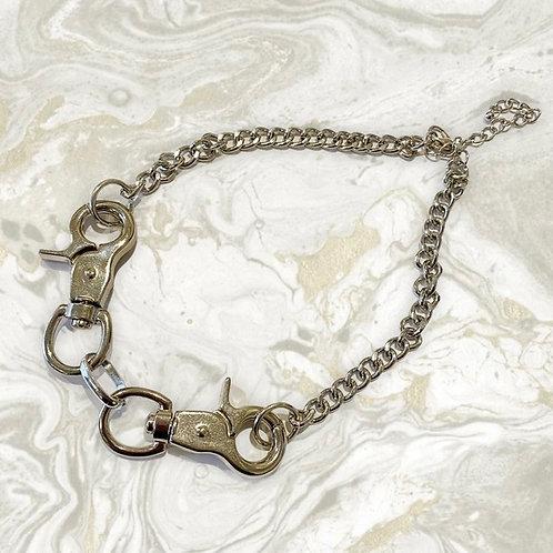 Silver Handcuff Chain Choker Necklace