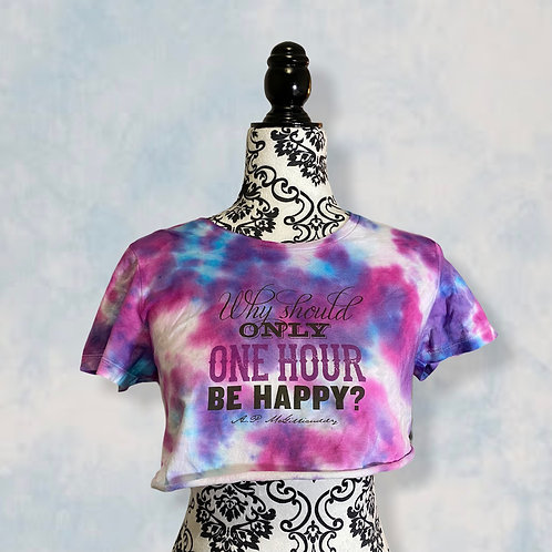 Reworked Happy Hour Tie-Dyed Crop T-shirt (size S)