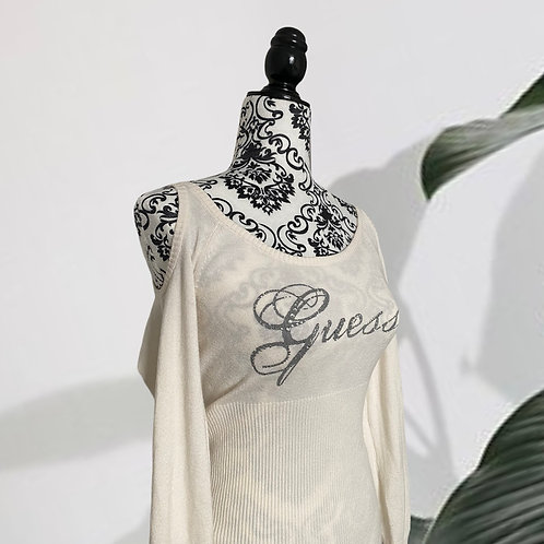 GUESS White Y2K Cold-Shoulder Sweater (Size M)