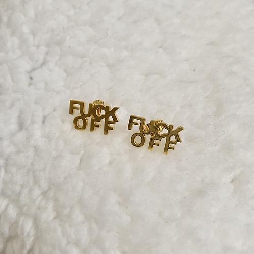 """Gold """"FUCK OFF"""" Stud Earrings"""