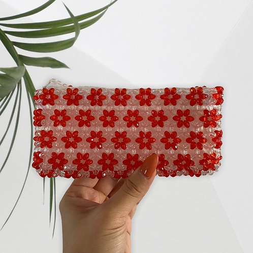 Handmade Red/White Dolly Strawberry Beaded Clutch
