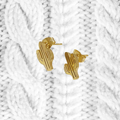 Gold Vermeil Dainty Cactus Earrings