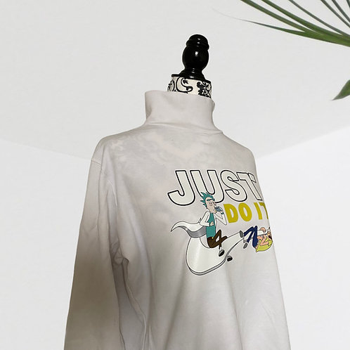 Custom Rick & Morty White Mockneck Shirt (XL)