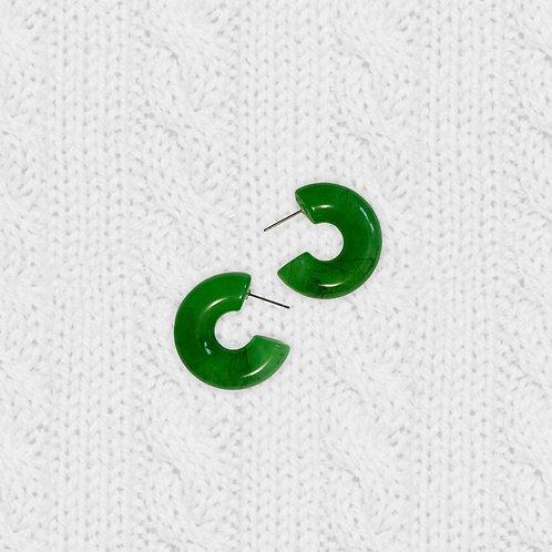 Milky Jade Chubby Hoop Earrings