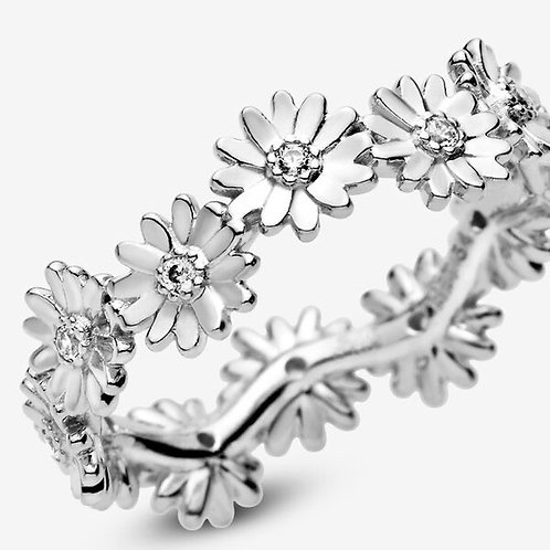 Daisy Flower Crown S925 Silver Ring (Size 7)